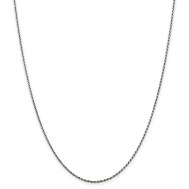 Sterling Silver Rhodium-plated 1.5mm Diamond-cut Rope Chain QDC020R - shirin-diamonds