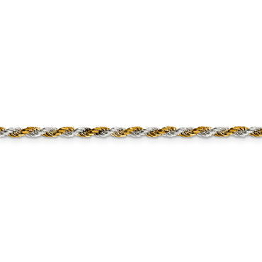 Sterling Silver & Vermeil 2.5mm Diamond-cut Rope Chain QDCY060 - shirin-diamonds