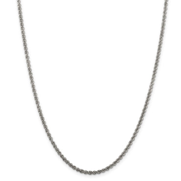 Sterling Silver 2.3mm Solid Rope Chain QDR040 - shirin-diamonds