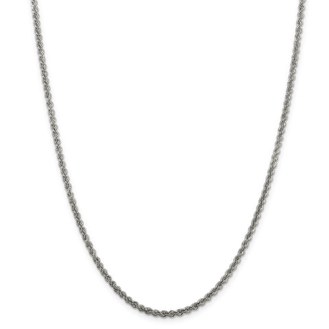 Sterling Silver Solid Rope 2.5mm Necklace QDR050 - shirin-diamonds