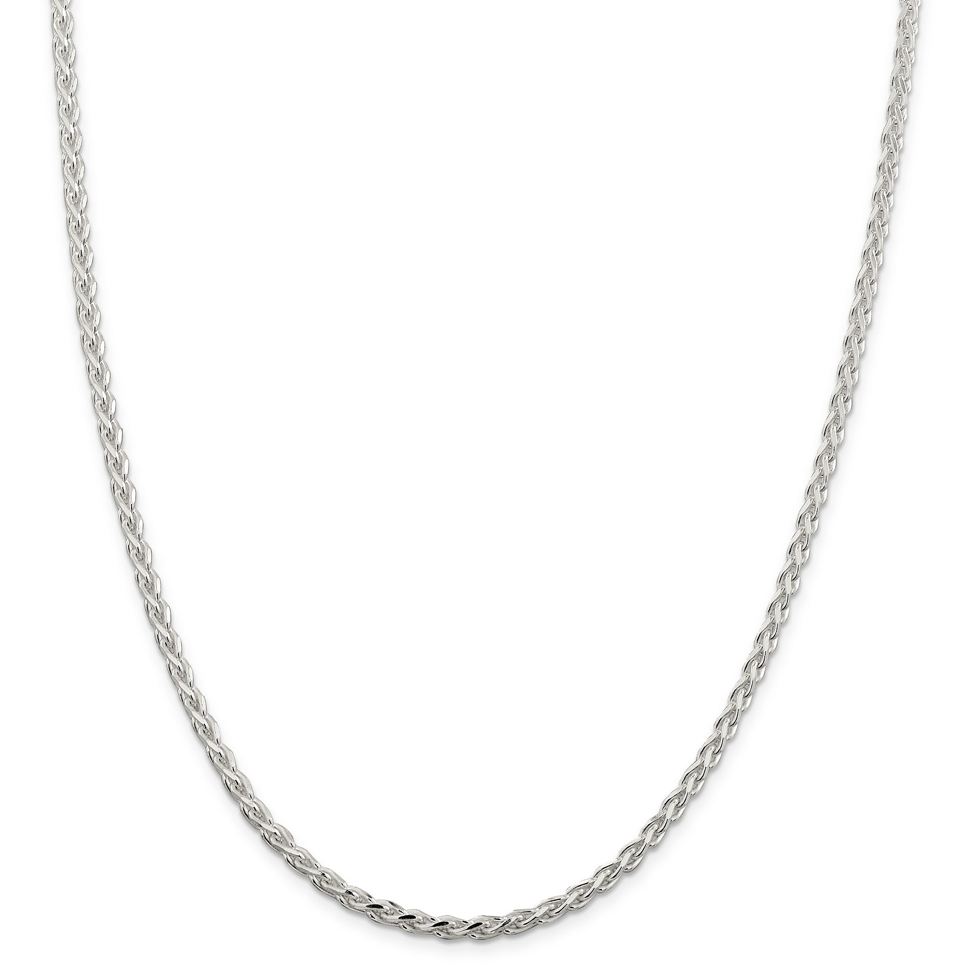 Sterling Silver 3.7 mm Polished & D/C Spiga Chain QDS100 - shirin-diamonds