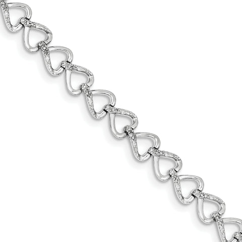 Sterling Silver Rhodium-plated Diam. Hearts Bracelet QDX1003 - shirin-diamonds