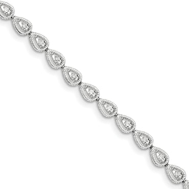 Sterling Silver Rhodium Plated Diamond Teardrop Link Bracelet QDX1040 - shirin-diamonds