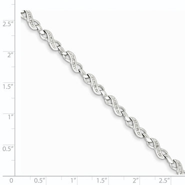 Sterling Silver Rhodium-plated Diam. Infinity Symbol Bracelet QDX1053 - shirin-diamonds