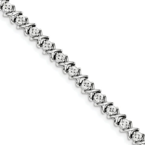 Sterling Silver Rhodium-plated Diam. X Bracelet QDX1107 - shirin-diamonds