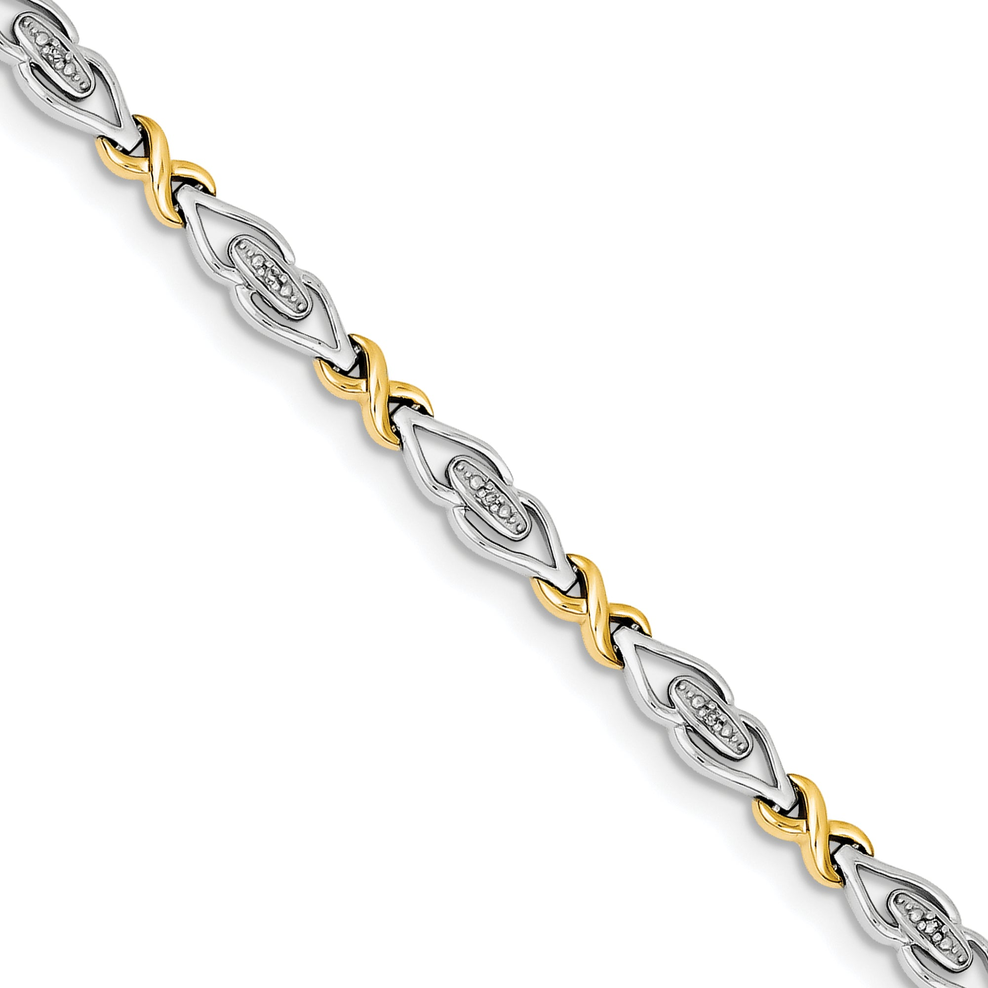 Sterling Silver Rhodium-plated & 14k Diam. Bracelet QDX1174 - shirin-diamonds
