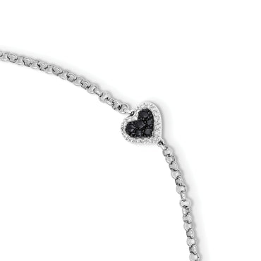 Sterling Silver Rhodium Diam. & Sapphire Heart Bracelet QDX1200 - shirin-diamonds