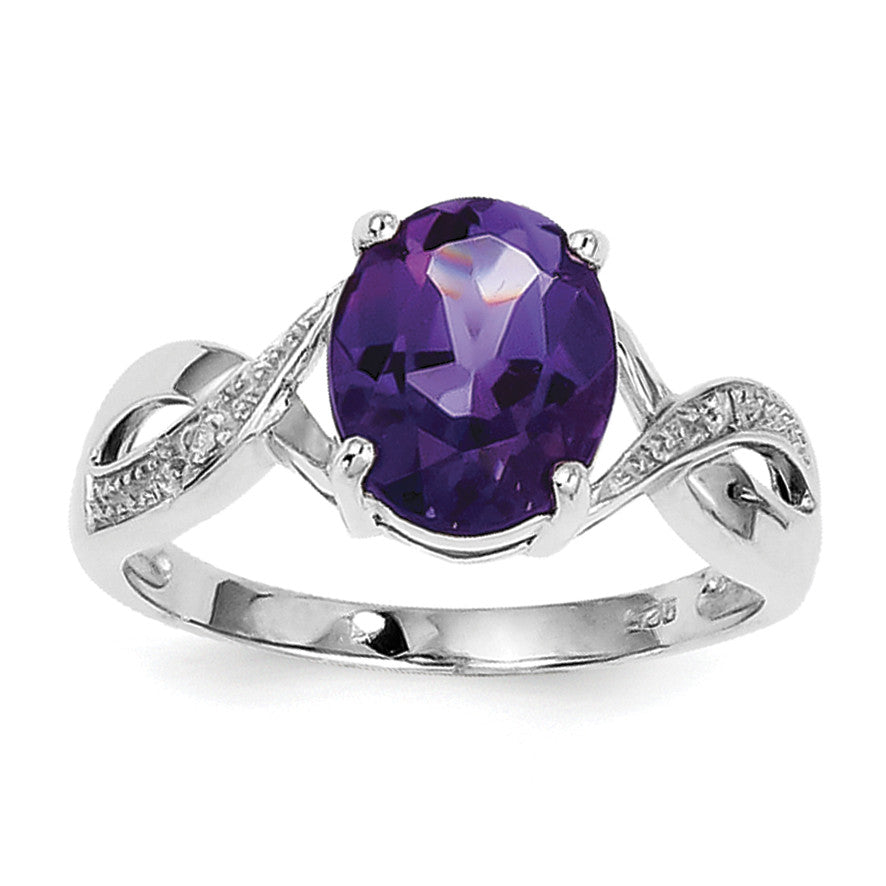 Sterling Silver Rhodium Amethyst & Diamond Ring QDX390 - shirin-diamonds