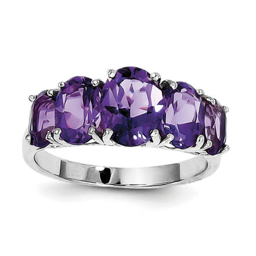 Sterling Silver Rhodium Amethyst Ring QDX418 - shirin-diamonds