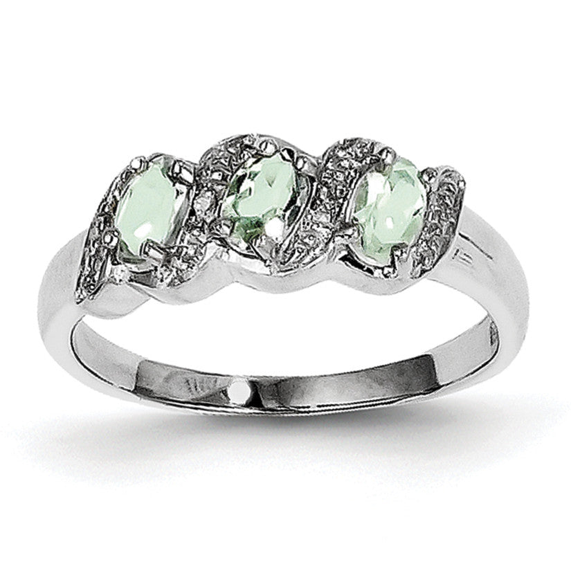 Sterling Silver Rhodium Green Quartz & Diamond Ring QDX446