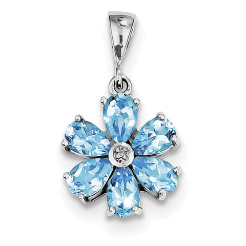 Sterling Silver Rhodium Light Swiss Blue Topaz & Diamond Flower Pendant QDX516 - shirin-diamonds