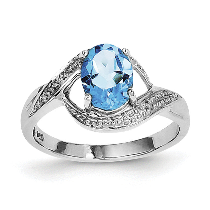Sterling Silver Rhodium Light Swiss Blue Topaz & Diamond Ring QDX535