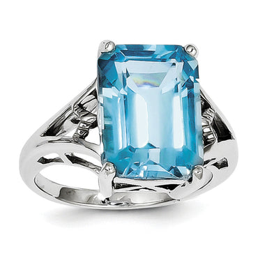 Sterling Silver Rhodium Light Swiss Blue Topaz Ring QDX546 - shirin-diamonds