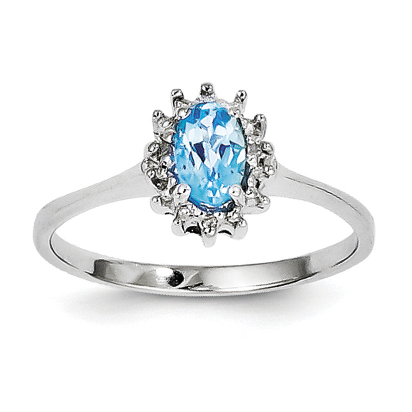 Sterling Silver Rhodium Light Swiss Blue Topaz Diamond Ring QDX576 - shirin-diamonds