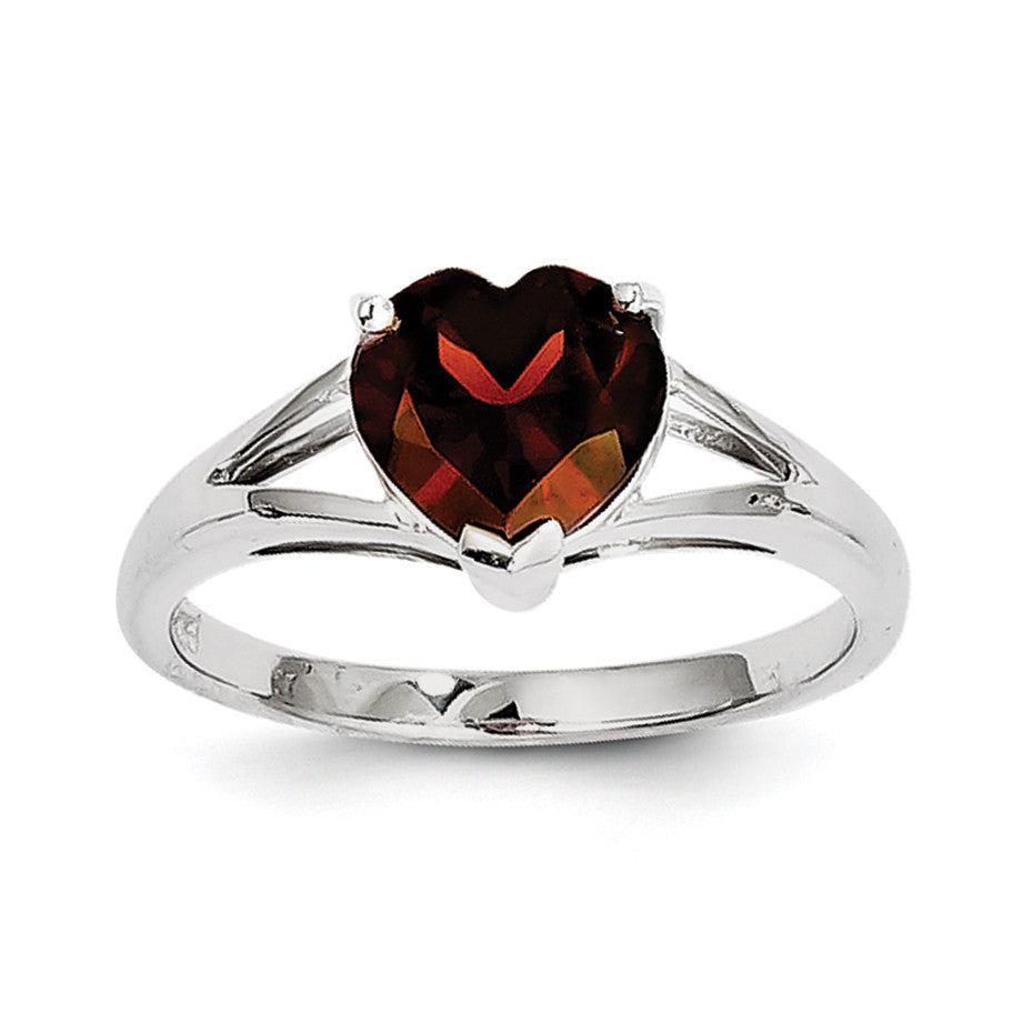 Sterling Silver Rhodium Garnet Ring QDX605