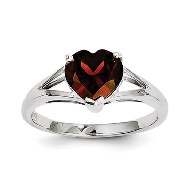 Sterling Silver Rhodium Garnet Ring QDX605 - shirin-diamonds