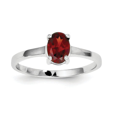 Sterling Silver Rhodium Garnet Ring QDX606 - shirin-diamonds