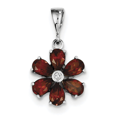 Sterling Silver Rhodium Garnet & Diamond Flower Pendant QDX619 - shirin-diamonds