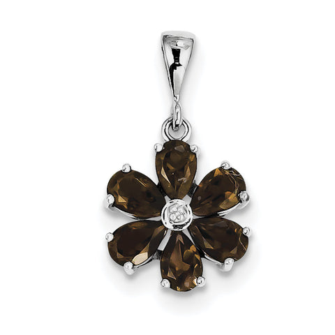 Sterling Silver Rhodium Smoky Qtz & Diamond Flower Pendant QDX663 - shirin-diamonds