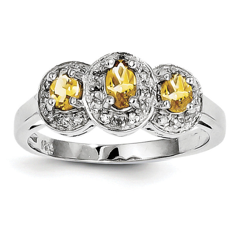 Sterling Silver Rhodium Citrine & Diamond Ring QDX736 - shirin-diamonds