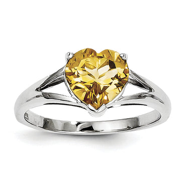 Sterling Silver Rhodium Citrine Ring QDX746 - shirin-diamonds