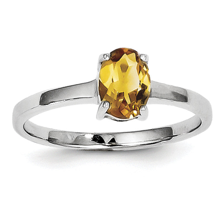 Sterling Silver Rhodium Citrine Ring QDX747 - shirin-diamonds