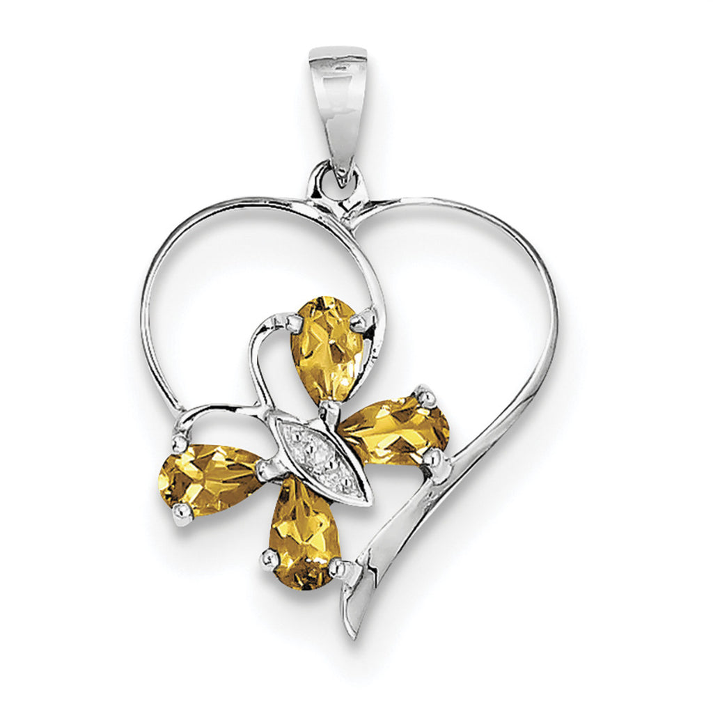 Sterling Silver Rhodium Citrine & Diamond Butterfly Heart Pendant QDX752 - shirin-diamonds
