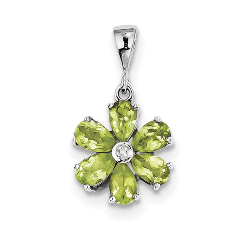 Sterling Silver Rhodium Peridot & Diamond Flower Pendant QDX816 - shirin-diamonds