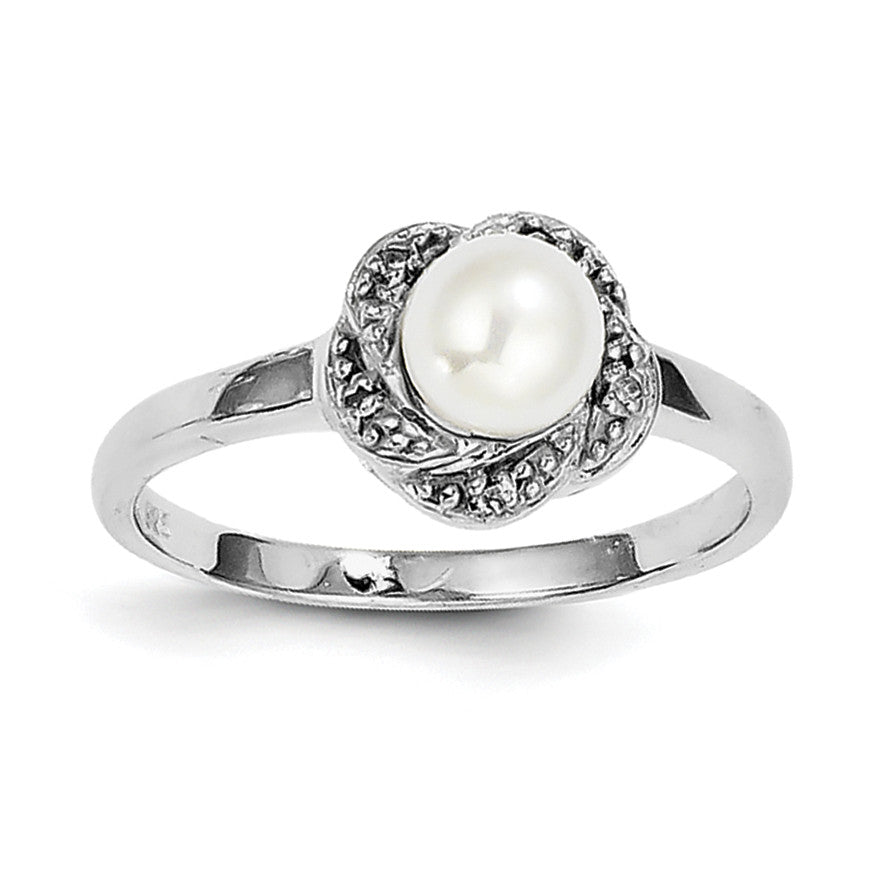 Sterling Silver Rhodium 6mm FW Cultured Button Pearl & Diamond Ring QDX854