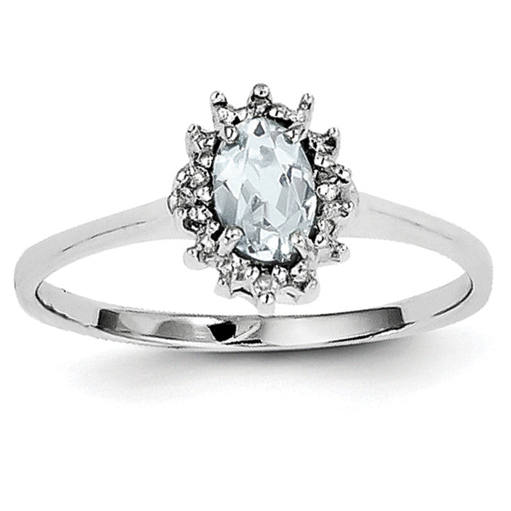 Sterling Silver Rhodium Aquamarine Diamond Ring QDX890