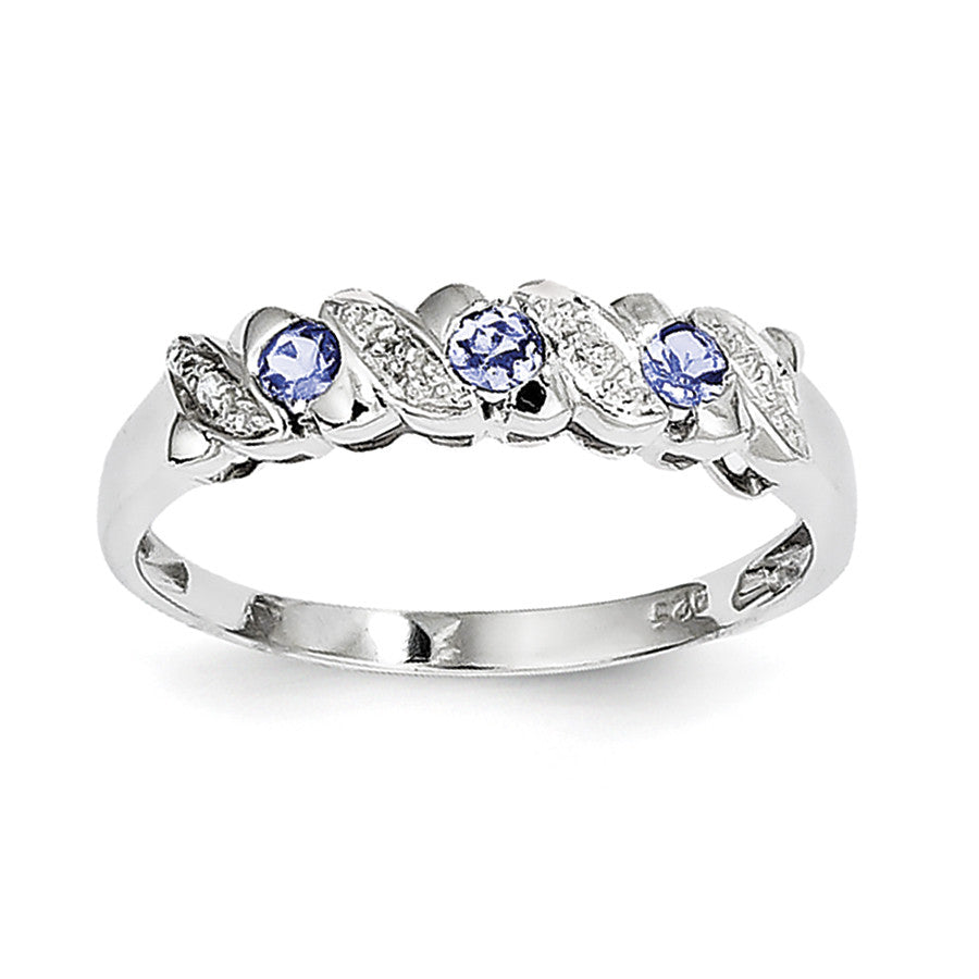 Sterling Silver Rhodium Tanzanite & Diam. Ring QDX944