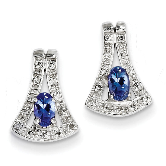 Sterling Silver Tanzanite & Diamond Earrings QDX969 - shirin-diamonds