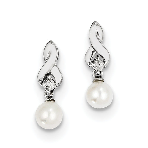 Sterling Silver Rhodium-plated FW Cultured Pearl Diamond Earrings QE10207