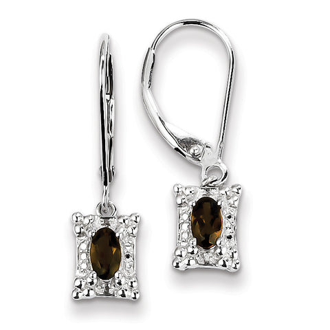 Sterling Silver Smoky Quartz Diamond Earrings QE10211SQ - shirin-diamonds