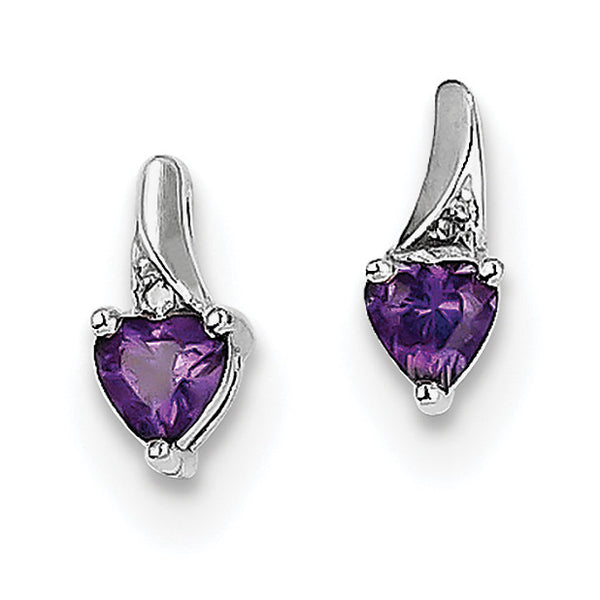 Sterling Silver Rhodium-plated Amethyst Diamond Earrings QE10217AM