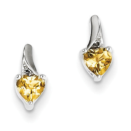 Sterling Silver Whiskey Quartz Diamond Earrings QE10218WQ