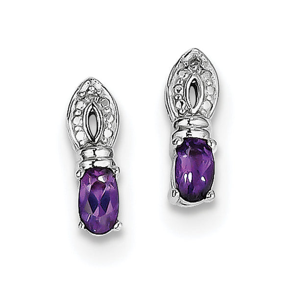 Sterling Silver Rhodium-plated Amethyst Diamond Earrings QE10219AM