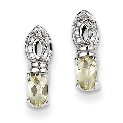 Sterling Silver Lemon Quartz Diamond Earrings QE10219LQ