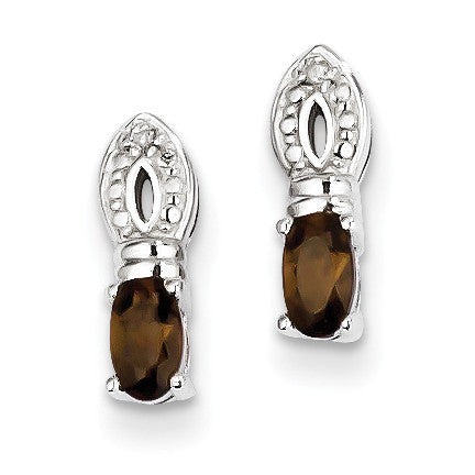 Sterling Silver Smoky Quartz Diamond Earrings QE10219SQ