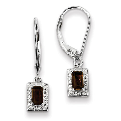 Sterling Silver Smoky Quartz Diamond Earrings QE10221SQ - shirin-diamonds