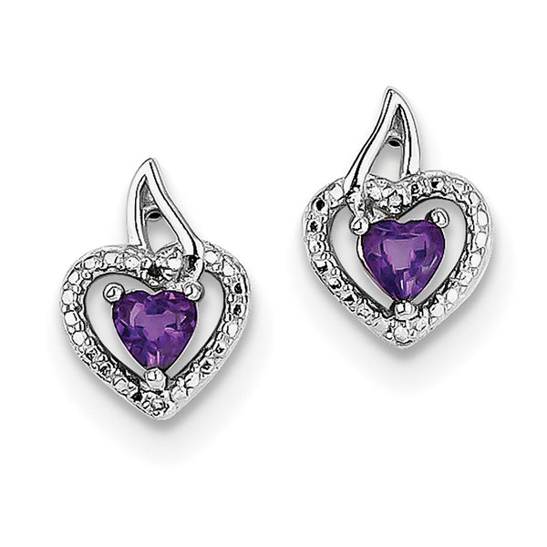 Sterling Silver Rhodium-plated Amethyst Diamond Earrings QE10229AM
