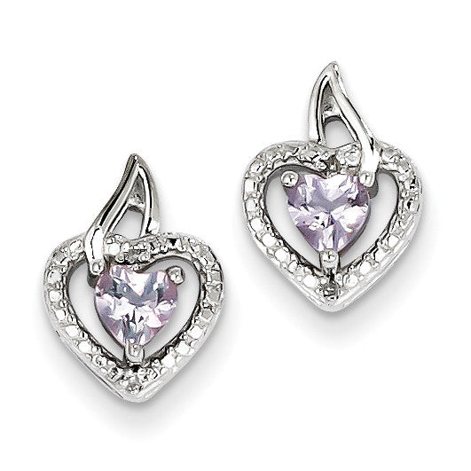 Sterling Silver Pink Quartz Diamond Earrings QE10229PQ