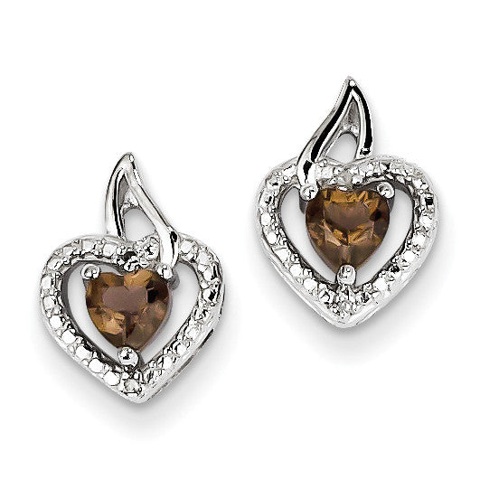 Sterling Silver Smoky Quartz Diamond Earrings QE10229SQ