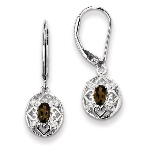 Sterling Silver Smoky Quartz Diamond Earrings QE10239SQ - shirin-diamonds
