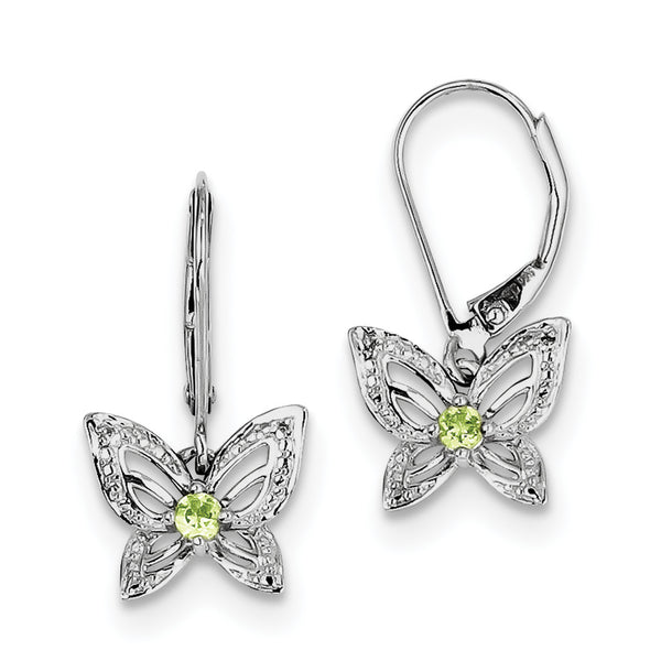 Sterling Silver Rhodium-plated Peridot & Diamond Earrings QE10265PE