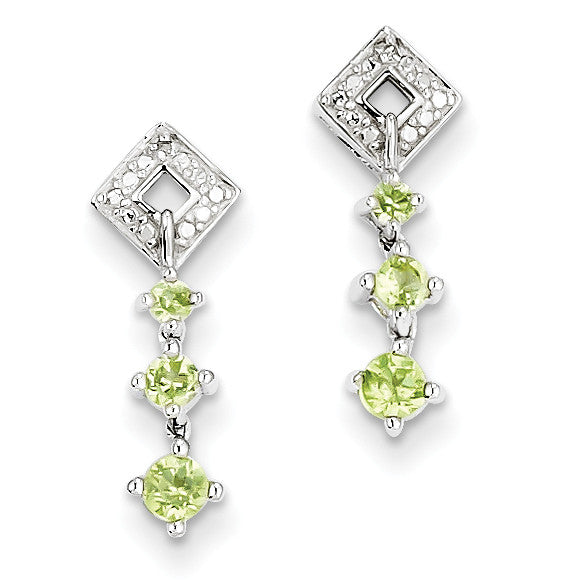 Sterling Silver Peridot Diamond Earrings QE10279PE