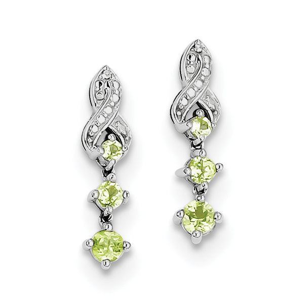 Sterling Silver Rhodium-plated Peridot Diamond Earrings QE10280PE