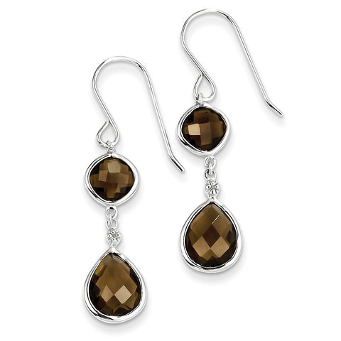 Sterling Silver Rhodium Plated Diamond Smoky Quartz Earrings QE10305SQ - shirin-diamonds