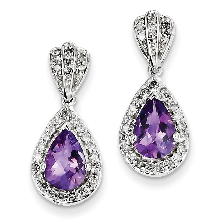 Sterling Silver Diamond and Amethyst Post Dangle Earrings QE10343AM - shirin-diamonds