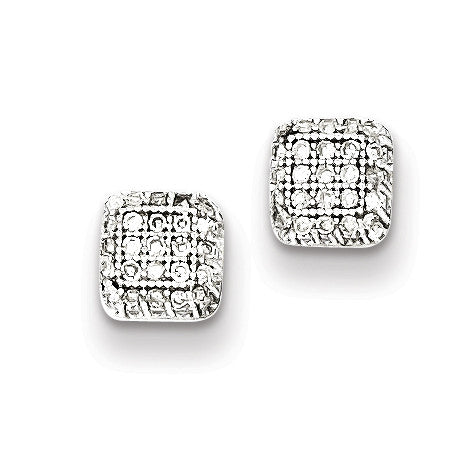 Sterling Silver Rhodium Plated Diamond Square Post Earrings QE10394 - shirin-diamonds